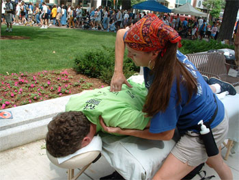Enjoyable chair massage at a community service event